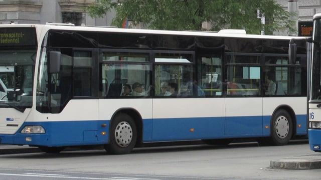 Ein blauweisser Bus.
