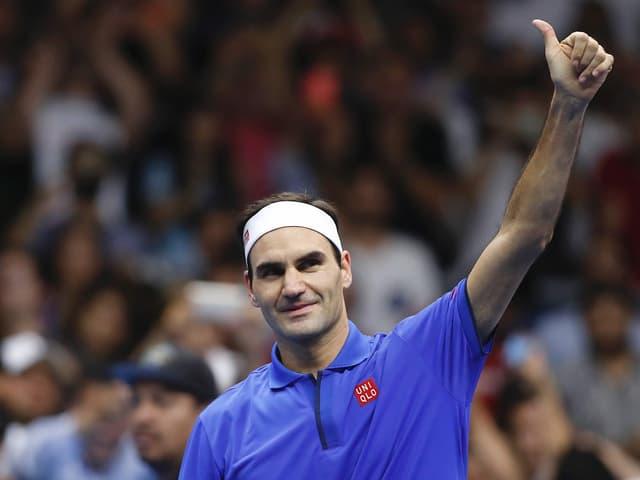 Roger Federer nach dem Sieg gegen Alexander Zverev.