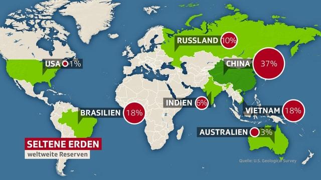 Eine Weltkarte mit grün markierten Ländern.