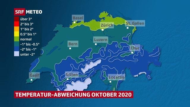 Karte der Schweiz mit der Temperatur-Abweichung von der Norm.