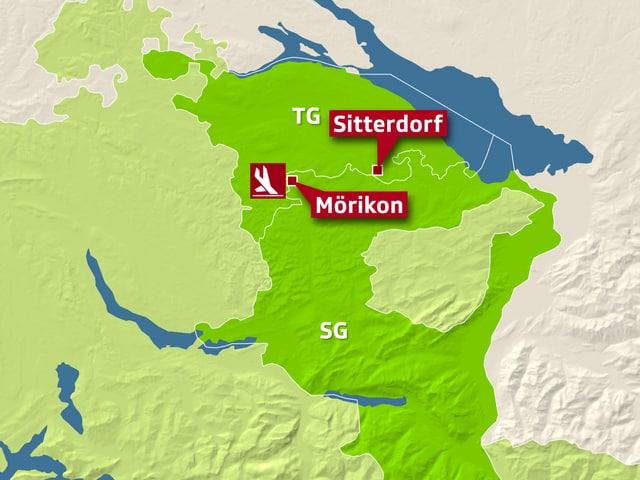 Kartenausschnitt der Ostschweiz zeigt Absturzstelle und Notlandestelle