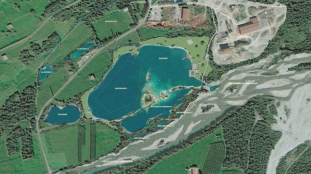 Il project actual prevesa ina zona per far bogn e duvrar turistic, sco era ina zona da protecziun.