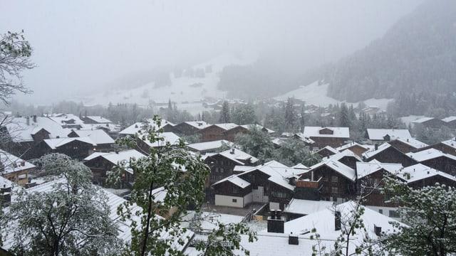 Am Montagmorgen lag Schnee in Saanen.