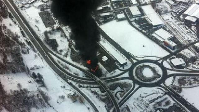 Die Unfallstelle bei Brig von oben - fotografiert Ende Januar.