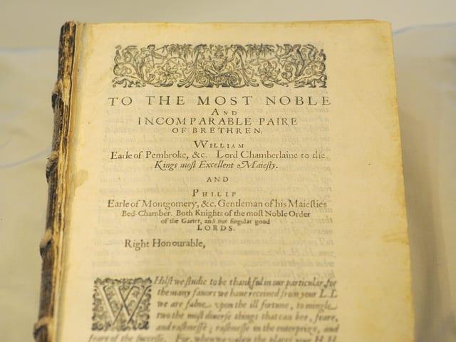 Die erste Gesamtausgabe Shakespeares, die sogenannte «First Folio».