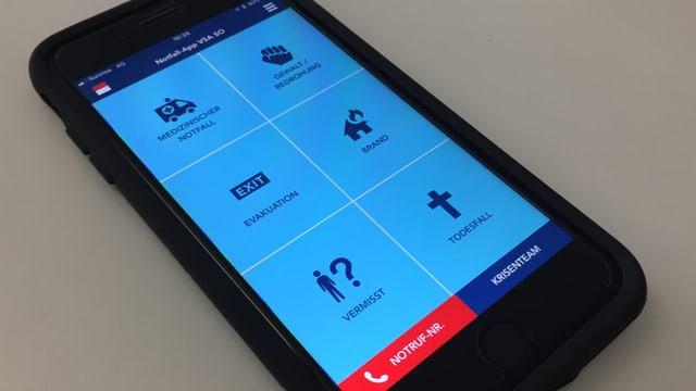 Handybildschirm mit Symbolen