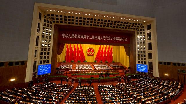 Blick in die Hauptversammlung des chinesischen Nationalen Volkskongresses In der Grossen Halle des Volkes.