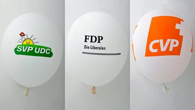 Drei Ballons mit den Logos von SVP, CVP und FDP