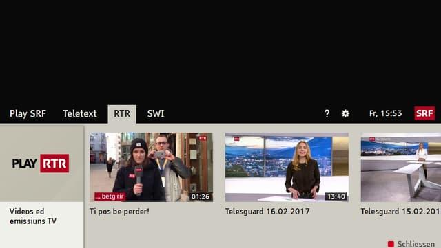 Pagina d'entrada da la purschida da HbbTV