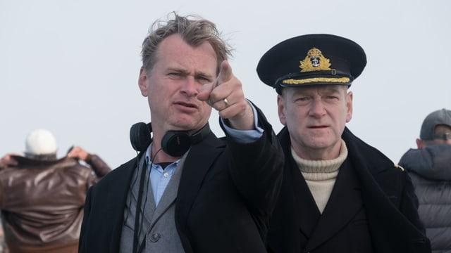 Regisseur Christopher Nolan (links) mit Kenneth Branagh, der Commander Bolton verkörpert.
