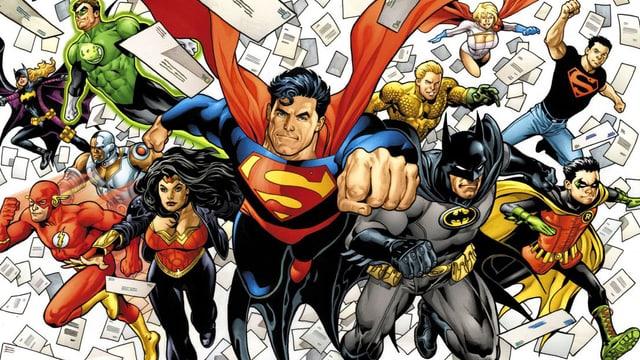 Comiczeichnung der Superhelden.