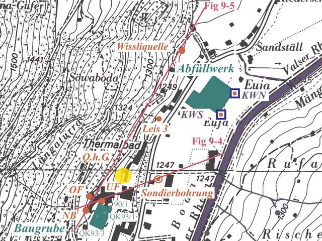 Karte mit den Standorten der Bohrungen