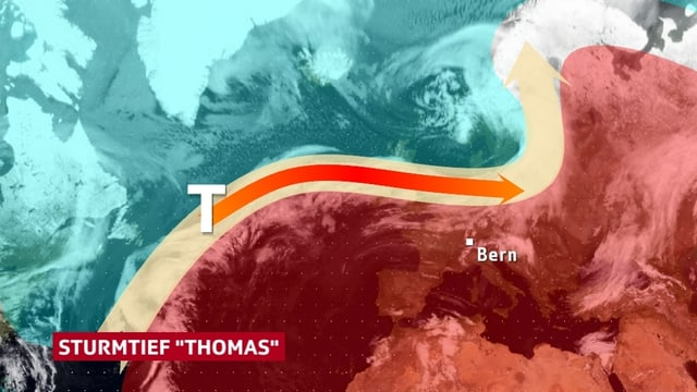 Ein Karte des Nordatlantiks. Eingezeichnet ist der Verlauf des Jetstreams. Er trennt die kälteren Luftmassen im Norden von den wärmeren Luftmassen im Süden.