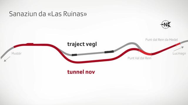 Purtret dal traject vegl ed il traject nov dal tunnel.