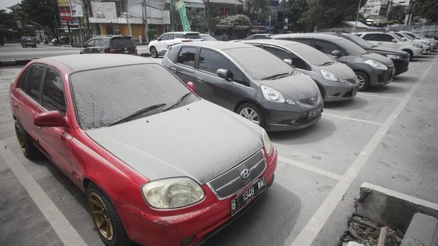Autos mit Ascheschicht