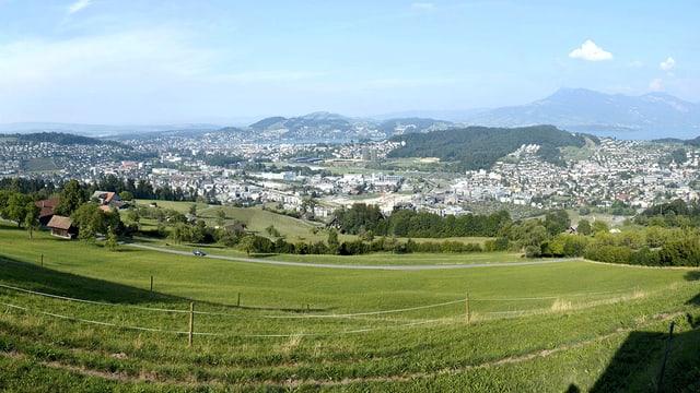 Blick auf den Sonnenberg bei Luzern, Schlund, Bireggwald und Horw.