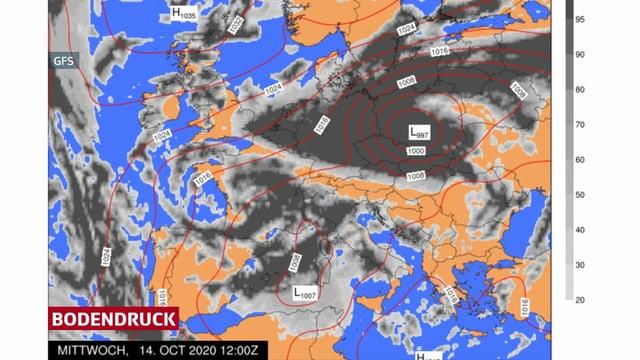 Das Tief liegt am Mittwochmittag über Südpolen.