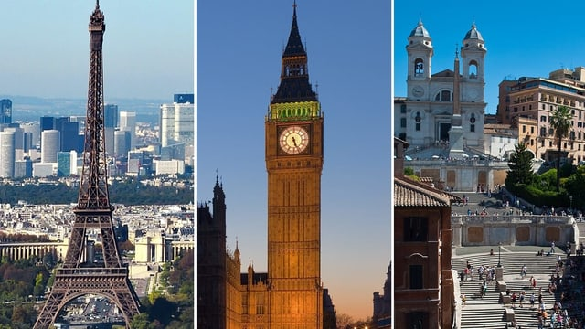 Bildcollage mit Wahrzeichen von Paris, London und Rom.