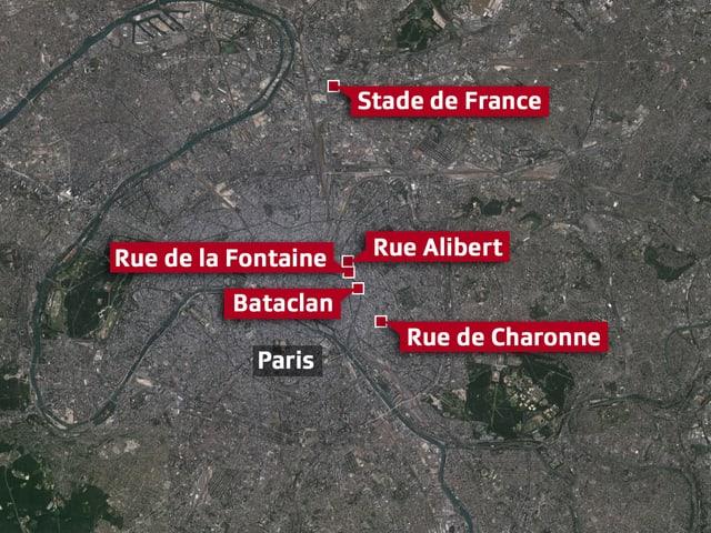 Satellitenbild von Paris zeigt Anschlagsorte