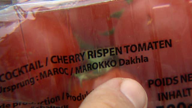 Nahaufnahme Verpackung mit Aufschrift «Ursprung: MAROKKO/Dakhla»