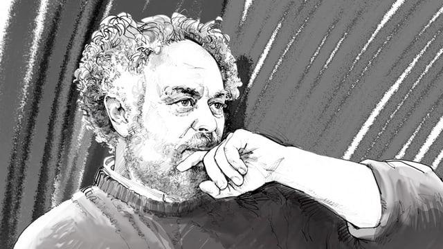 Niklaus Meienberg in einer Illustration mit Pullover, nachdenkend, die Hand am Kinn
