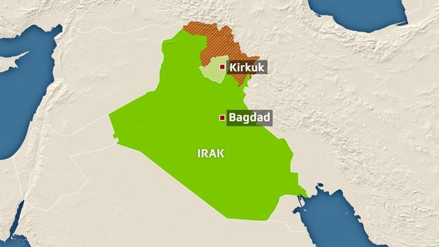 Karte Iraks, eingezeichnet sind Bagdad und Kirkuk.