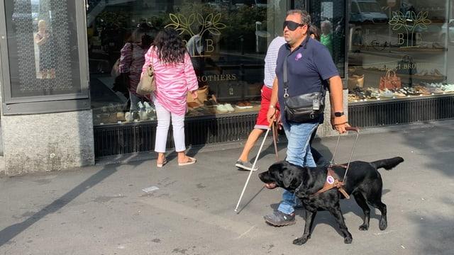 Blindenhund und -Führer gehen der Strasse entlang