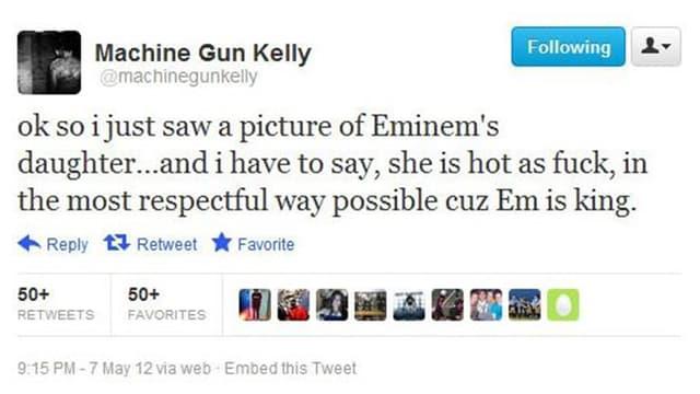 Machine Gun Kellys Tweet von 2012.