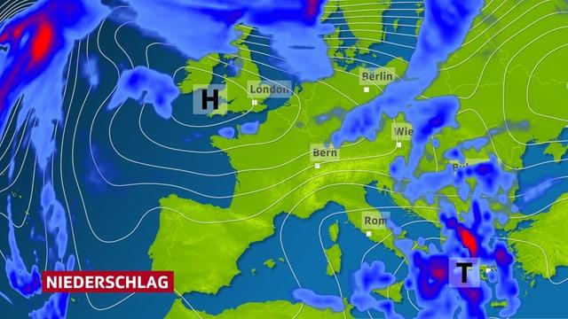 Eine Wetterkarte zeigt den Bodendruck über Europa und das Tief im Mittelmeer. Zusätzlich ist der starke Regen über Griechenland dargestellt.