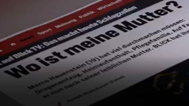 Zeitungsartikel aus dem Blick mit dem Titel «Wo ist meine Mutter?»