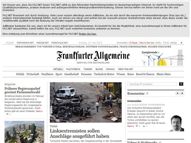 Ein Screenshot von faz.net