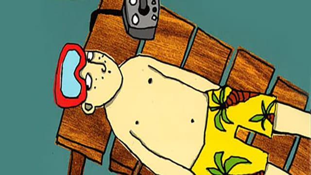Titelbild von Anton taucht ab. Ein Junge in Badehose und Schwimmbrille liegt auf einem Liegestuhl. Hintergrund ist einfach grün.