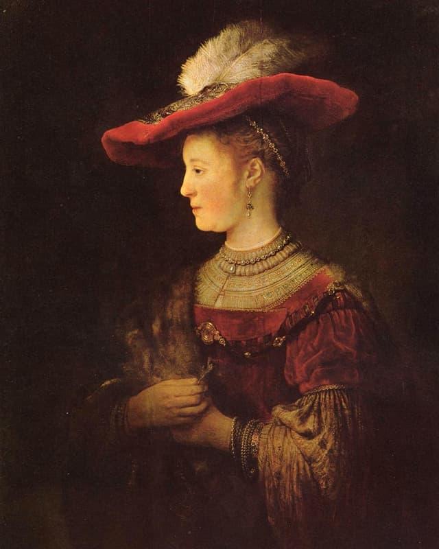 Rembrandt-Gemälde: Eine Frau mit Hut, von der Seite gesehen.
