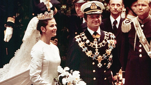 Silvia und König Carl Gustaf von Schweden bei ihrer Hochzeit.