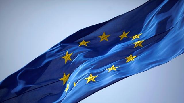 EU-Fahne, im Hintergrund ist blauer Himmel erkennbar