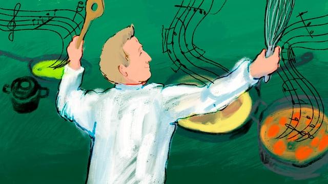 Zeichnung: Ein Koch mit Löffel und Schneebesen in Dirigentenpose