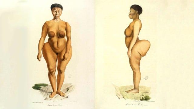 Eine Zeichnung einer nakten Frau.