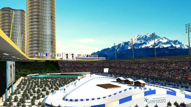 Visualisierung einer Biathlon-Arena im Stadion Allmend