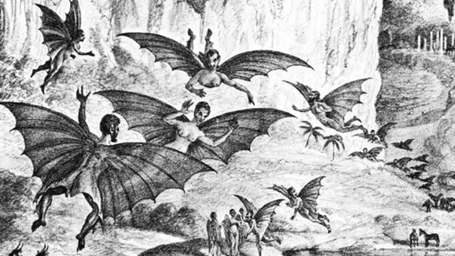 Eine Schwarz-Weiss-Illustration mit Ausserirdischen mit Flügeln im Bild.
