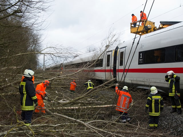 Feuerwehr im Einsatz bei einem Zug