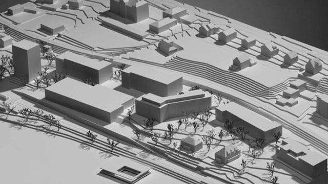 Modell einer Siedlung am See.