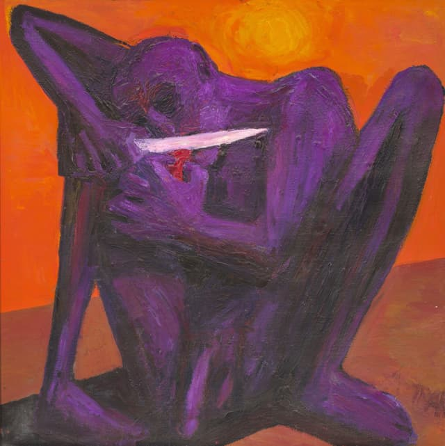 Ein Gemälde: eine violette kreatur schneidet sich die Zunge ab.