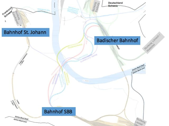 Grafik Bahnlinien und die drei Basler Bahnhöfe St. Johann, Badischer Bahnhof und Bahnhof SBB.