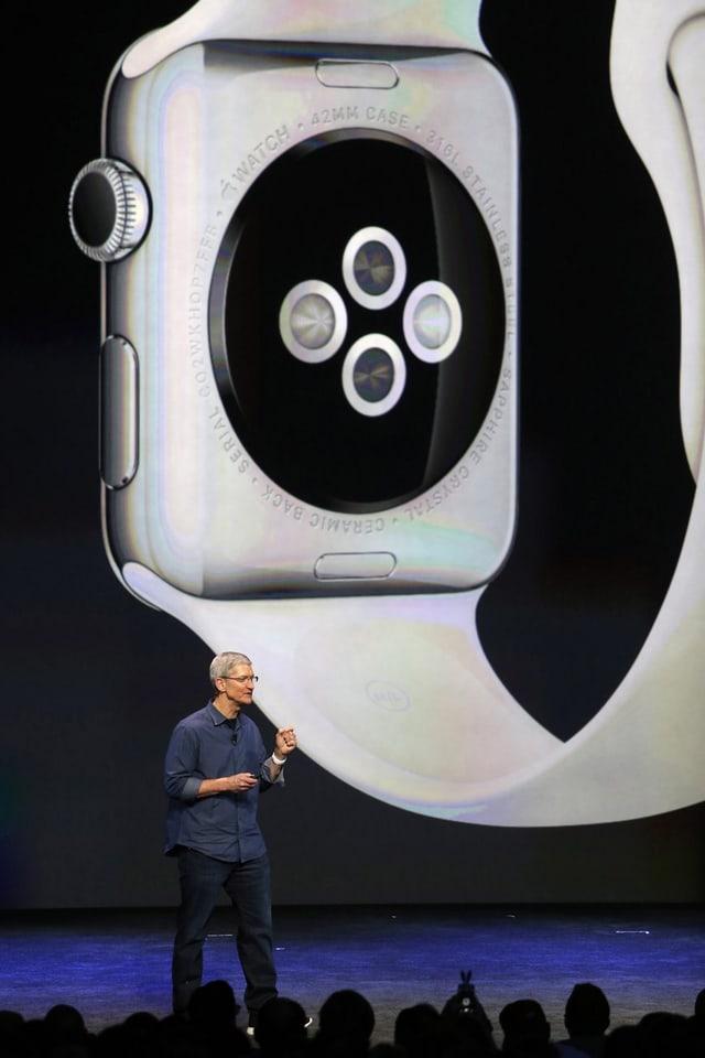 Vier runde Dioden auf der Rückseite der Uhr.