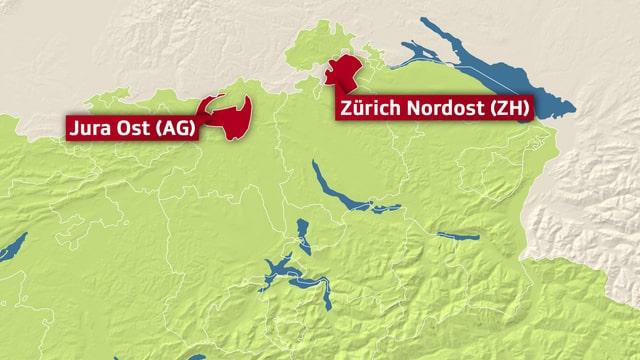 Animierte Karte der möglichen Nagra-Standorte.