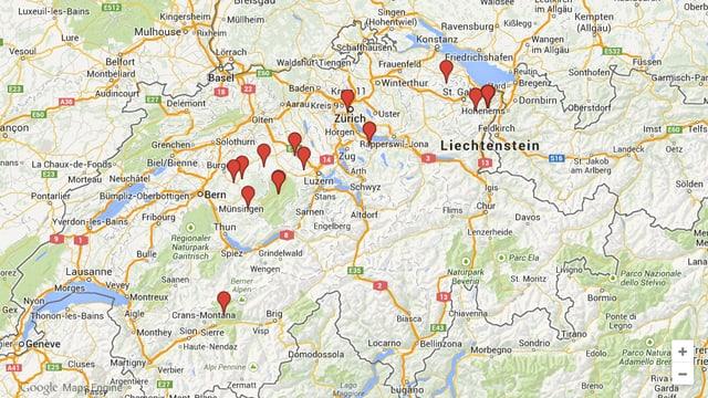 Eine Schweiz-Karte mit jenen Orten, aus denen uns Videos geschickt wurden.