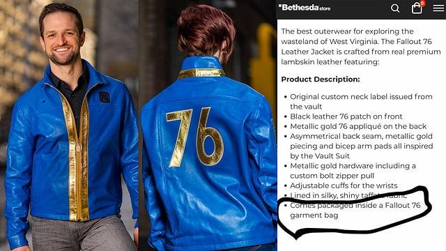 Eine blaue Lederjacke mit goldenem 76-Aufdruck