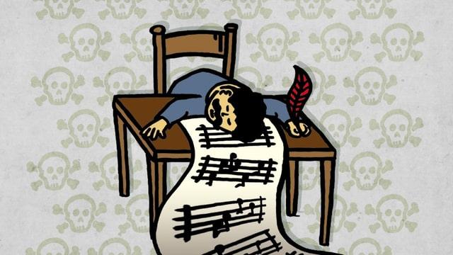 Die Zeichnung zeigt Puccini, wie er tot über seiner Partitur liegt.