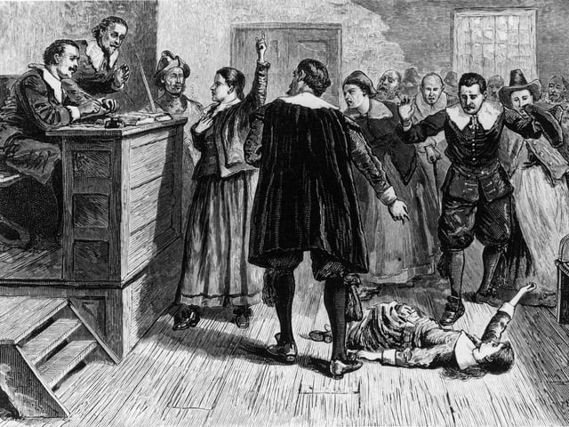 Eine historische Illustration eines Hexenprozesses aus Salem.