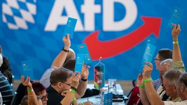 Personen an einem AfD-Parteitag